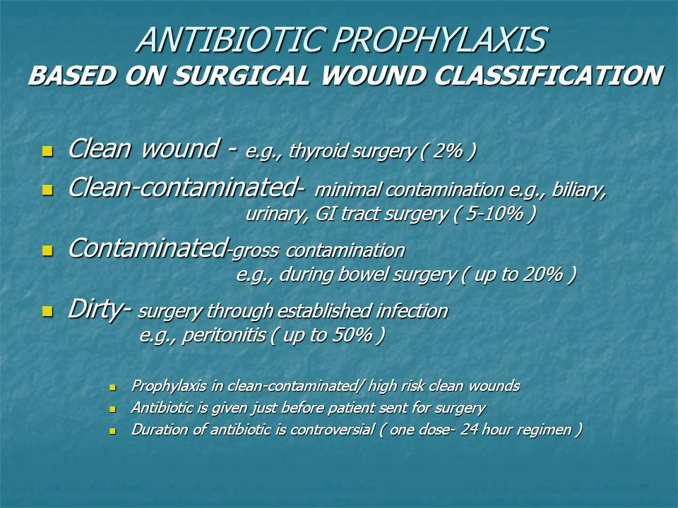 ANTIBIOTIC PROPHYLAXIS BASED ON SURGICAL WOUND CLASSIFICATION