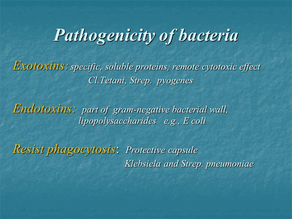 Pathogenicity of bacteria