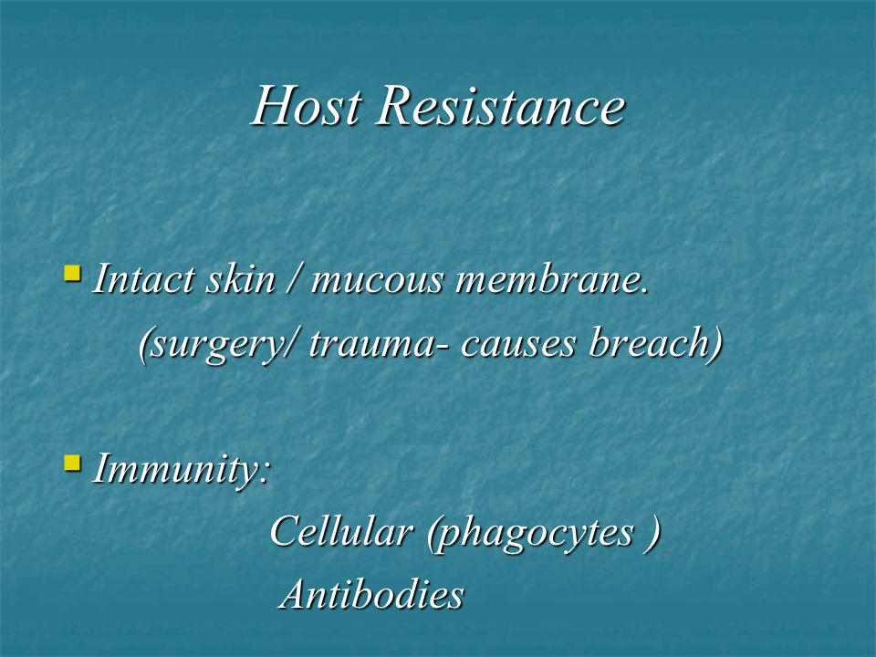 Host Resistance Intact skin / mucous membrane.