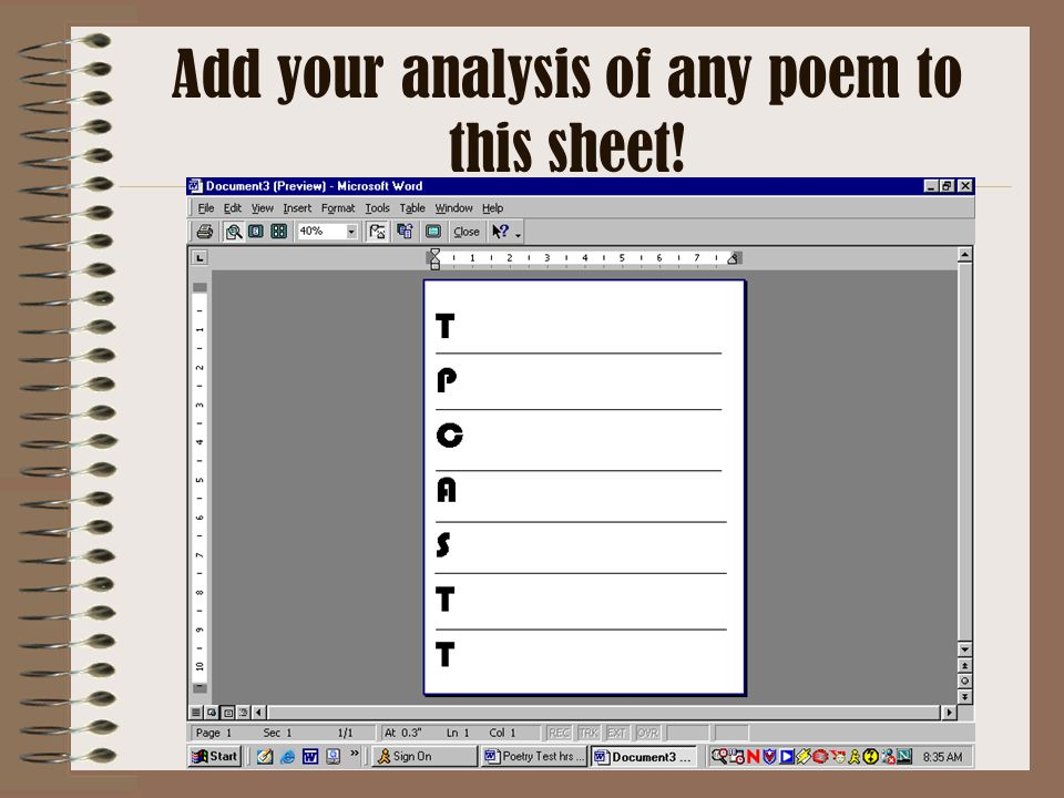Add your analysis of any poem to this sheet!