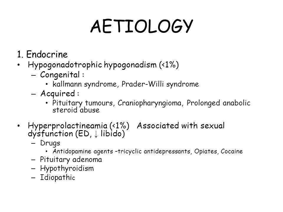 AETIOLOGY 1. Endocrine Hypogonadotrophic hypogonadism (<1%)