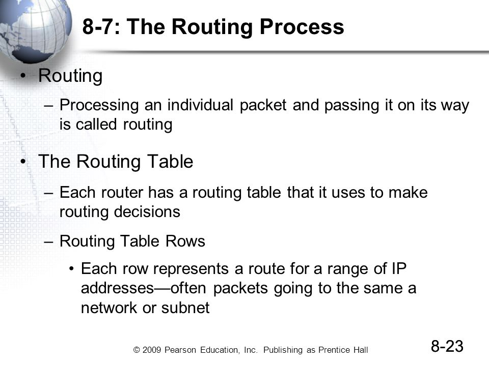 8-7: The Routing Process Routing The Routing Table