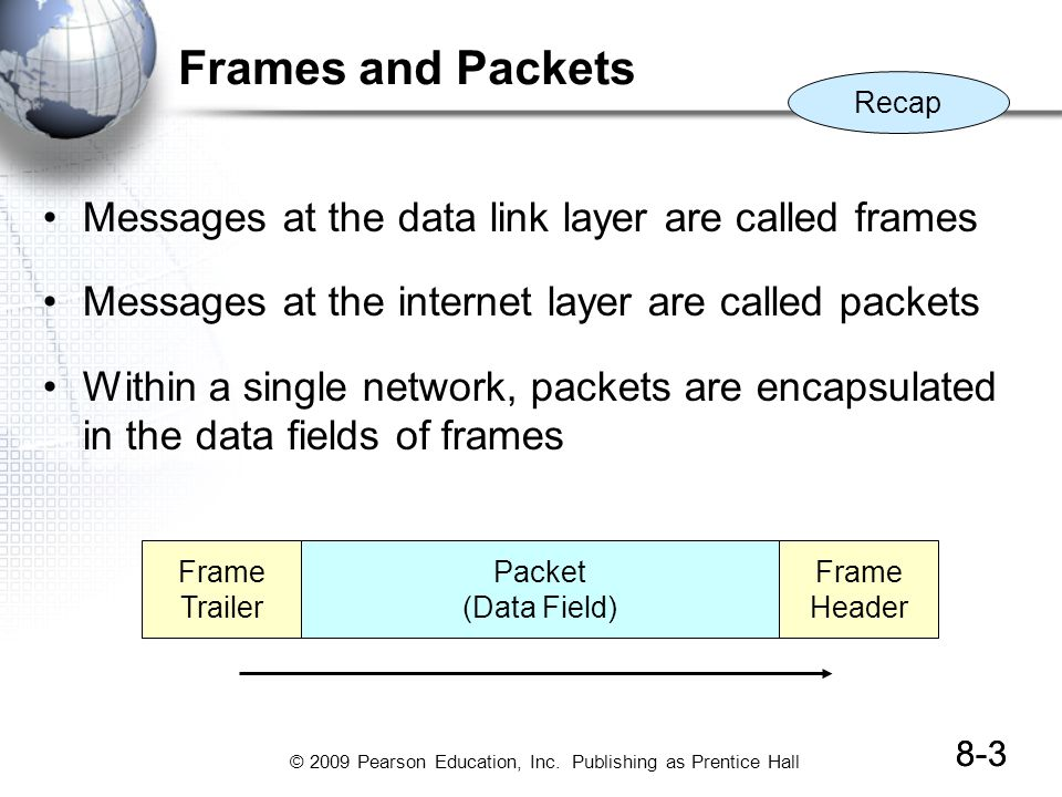 Frames and Packets Messages at the data link layer are called frames