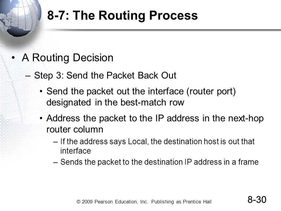 8-7: The Routing Process A Routing Decision