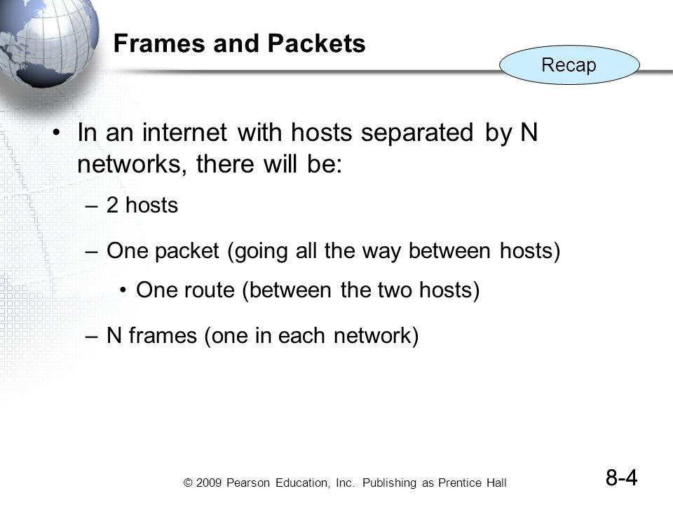 In an internet with hosts separated by N networks, there will be: