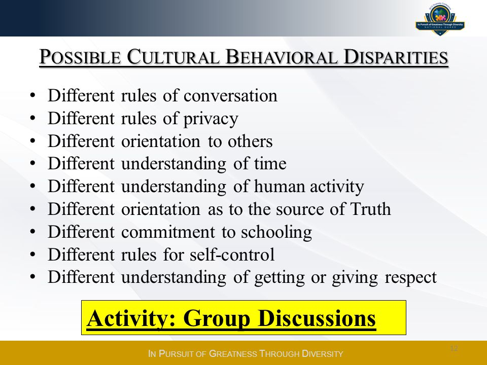 Possible Cultural Behavioral Disparities