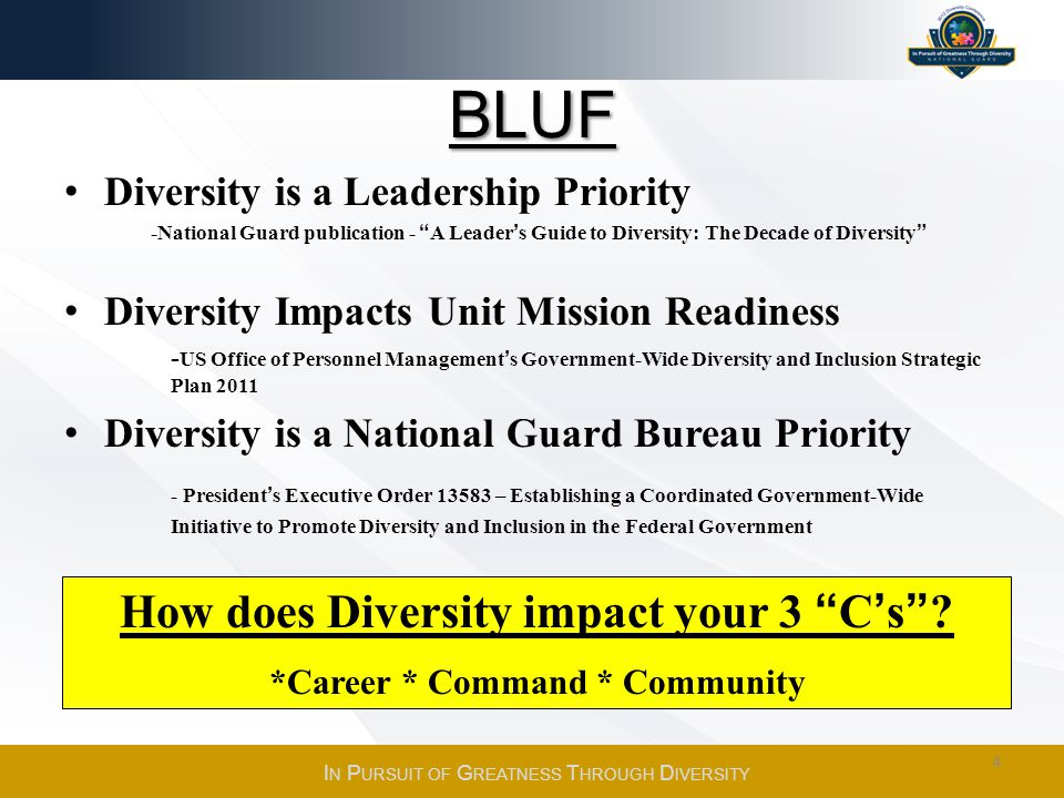 How does Diversity impact your 3 C's *Career * Command * Community