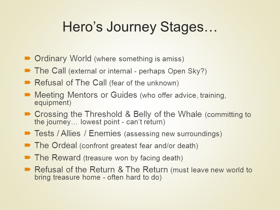 Hero's Journey Stages…
