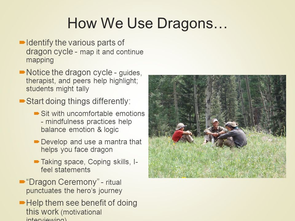 How We Use Dragons… Identify the various parts of dragon cycle - map it and continue mapping.