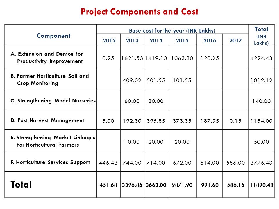 Project Components and Cost