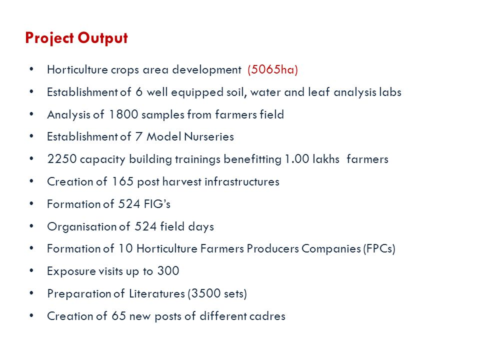 Project Output Horticulture crops area development (5065ha)