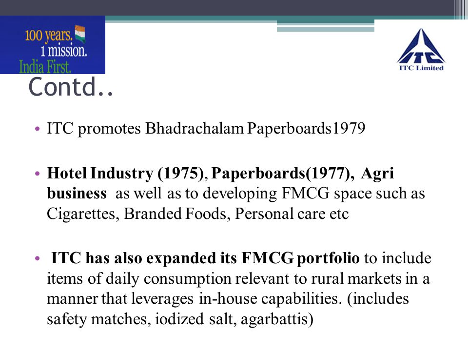 Contd.. ITC promotes Bhadrachalam Paperboards1979