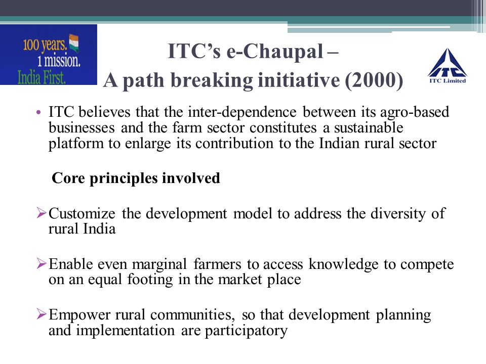 ITC's e-Chaupal – A path breaking initiative (2000)