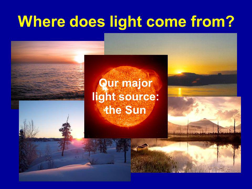 Where does light come from Our major light source: