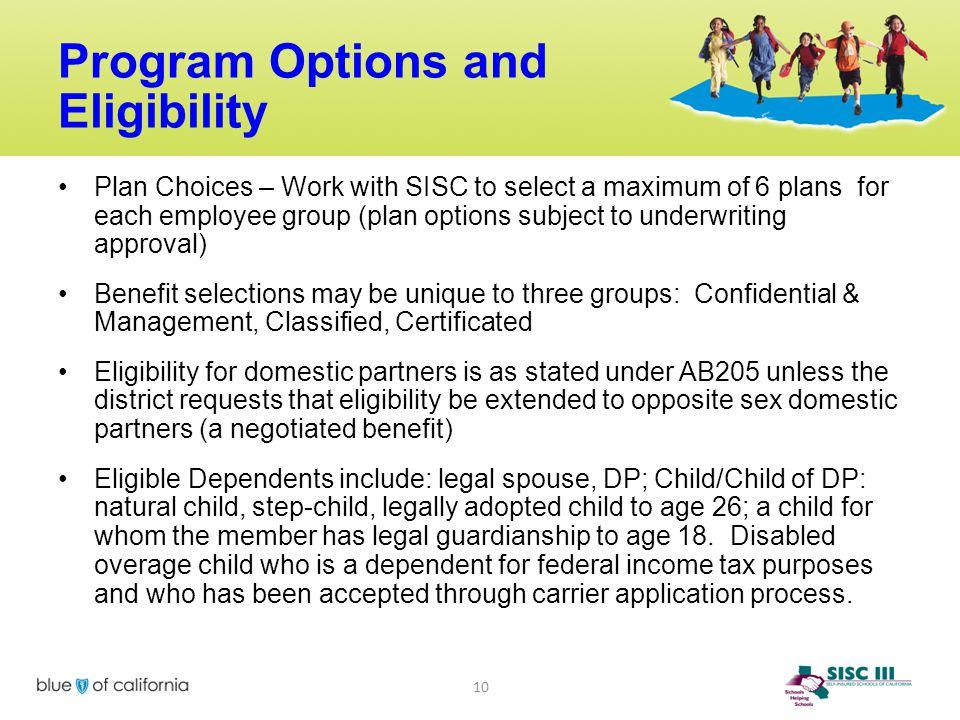 Program Options and Eligibility