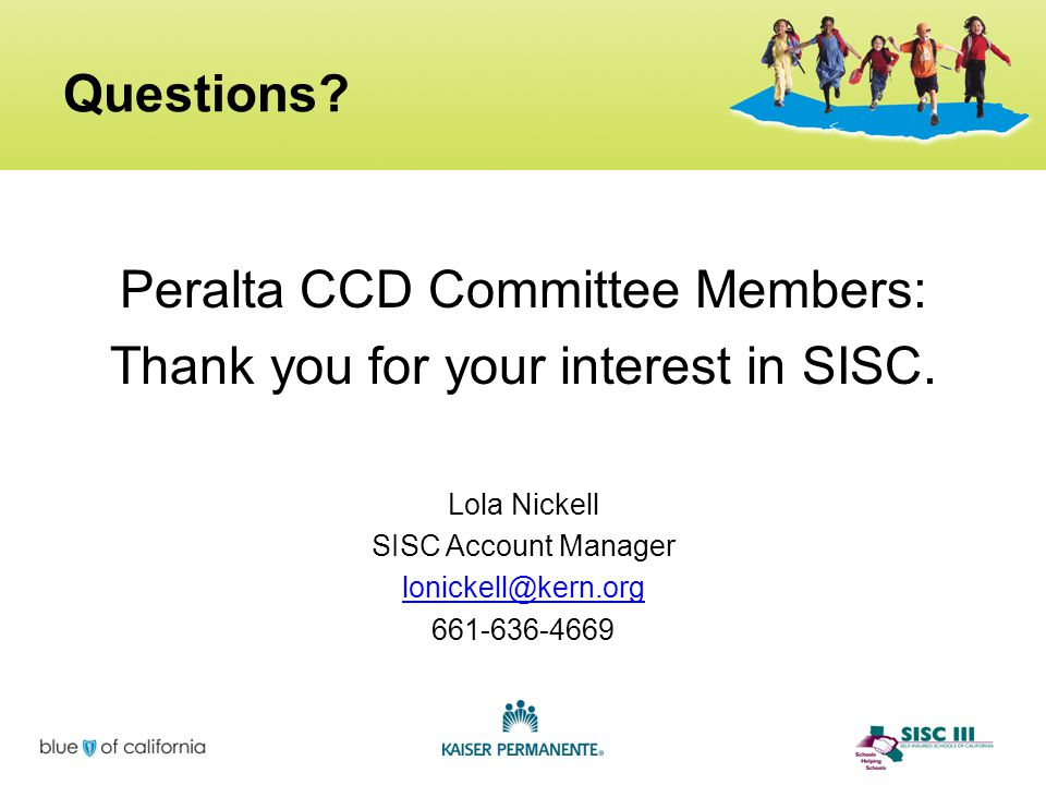 Peralta CCD Committee Members: Thank you for your interest in SISC.