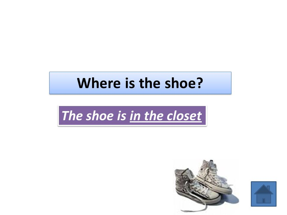 Where is the shoe The shoe is in the closet