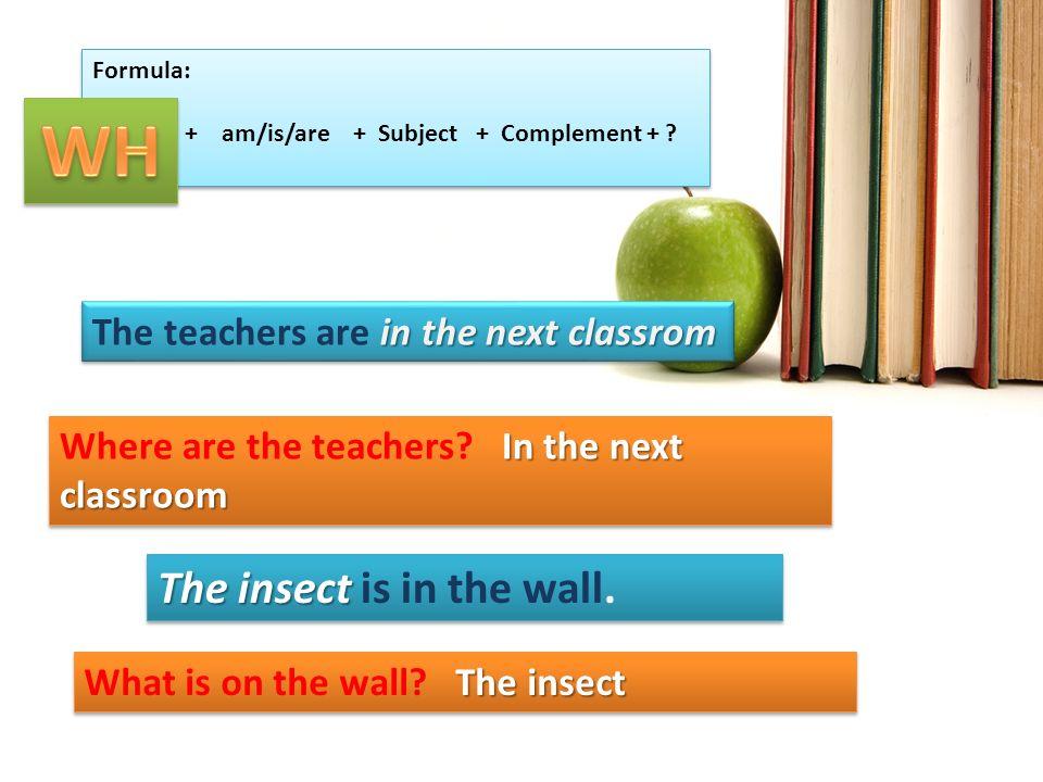 WH The insect is in the wall. The teachers are in the next classrom