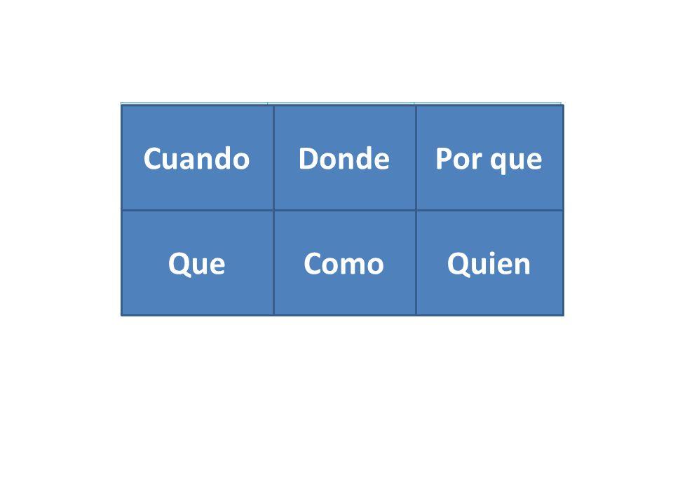 When Where Why What How Who Cuando Donde Por que Que Como Quien