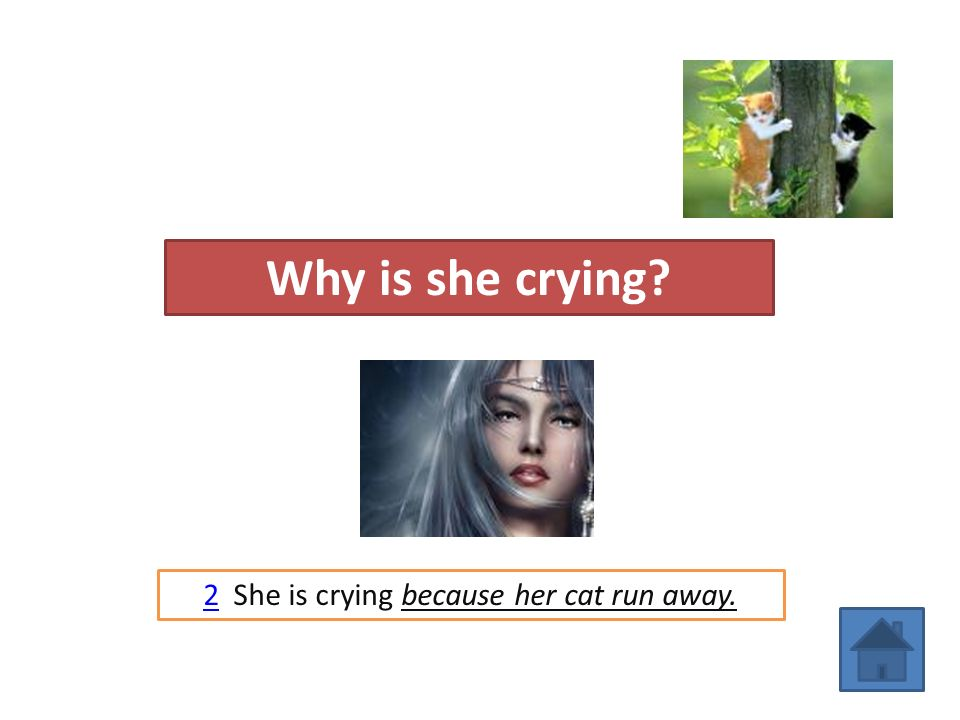 2 She is crying because her cat run away.