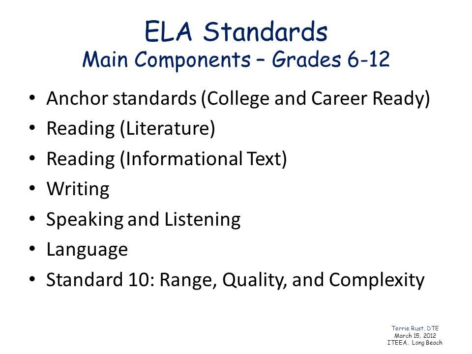 ELA Standards Main Components – Grades 6-12