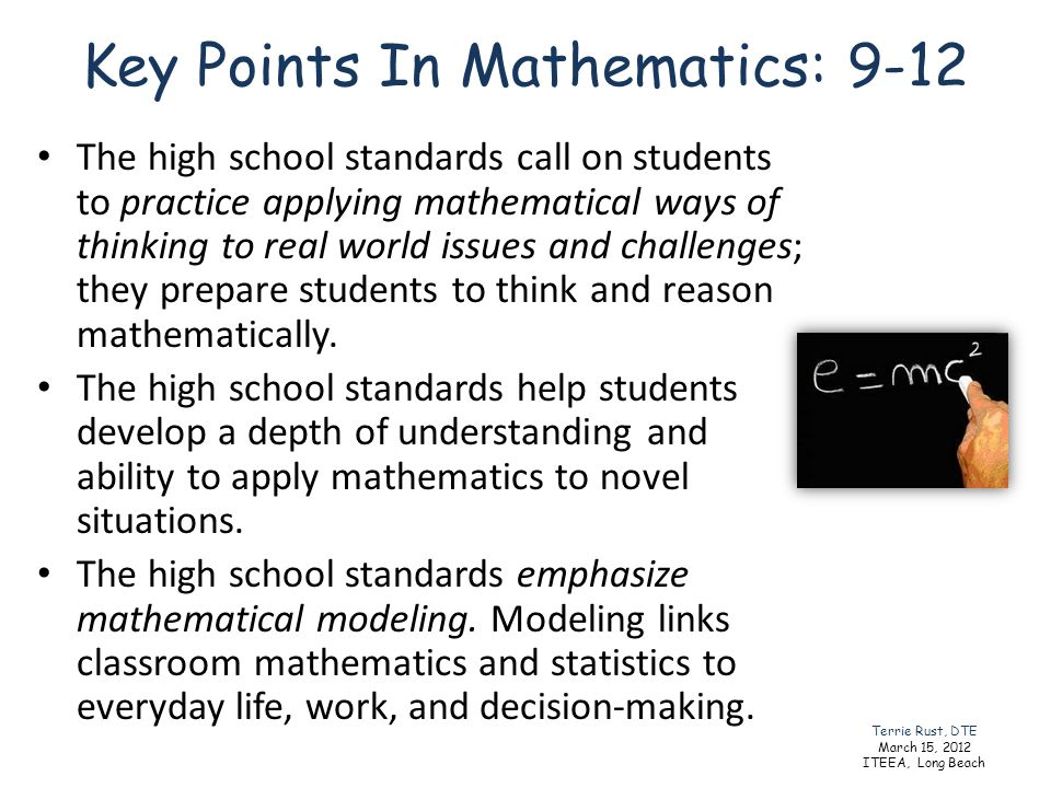 Key Points In Mathematics: 9-12