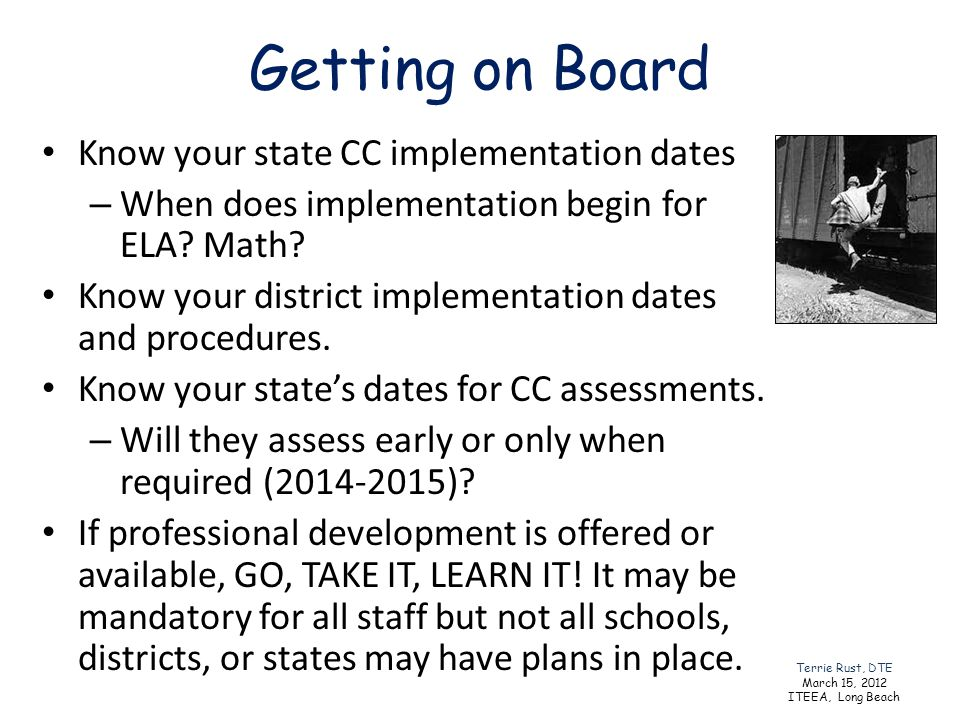 Getting on Board Know your state CC implementation dates