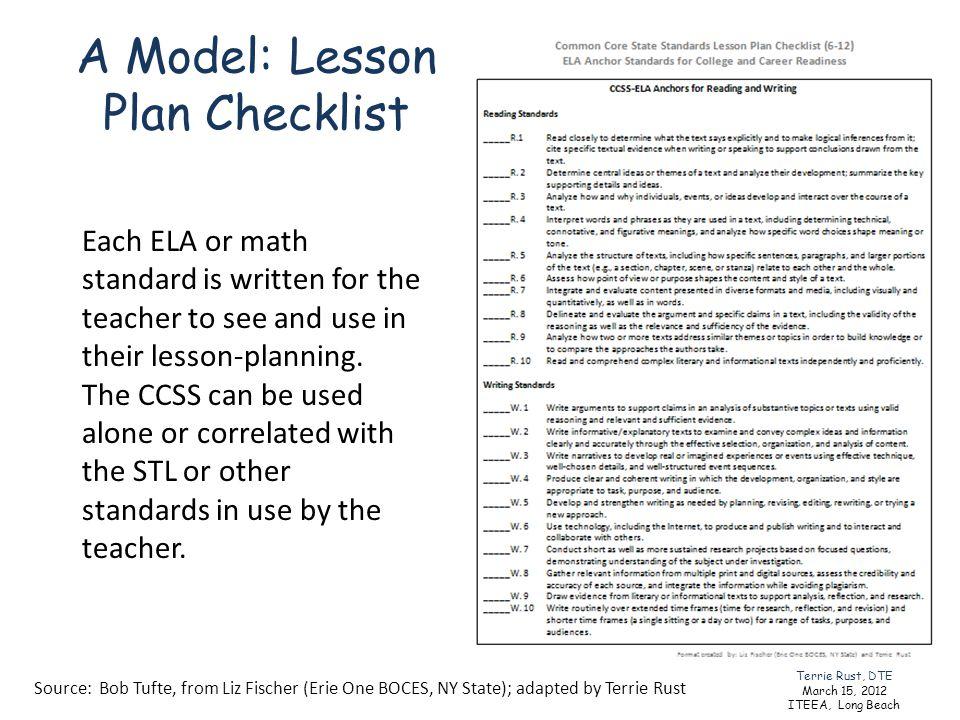 A Model: Lesson Plan Checklist