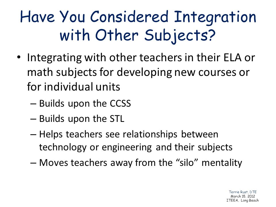 Have You Considered Integration with Other Subjects