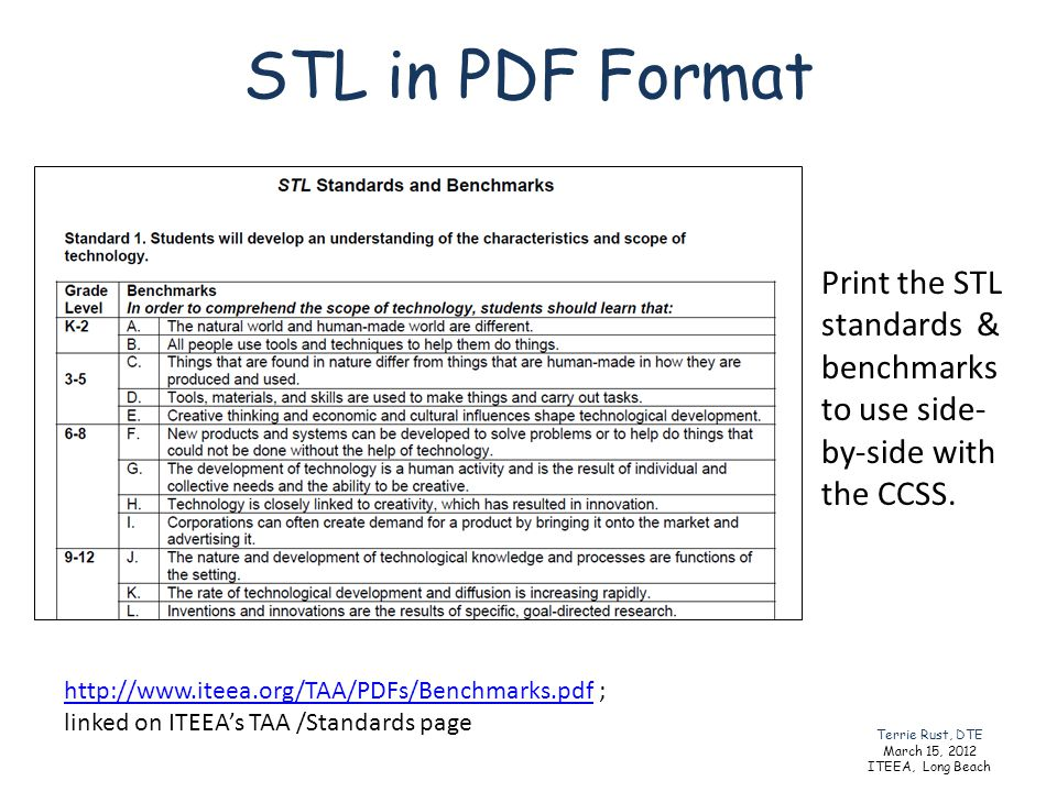 STL in PDF Format Print the STL standards & benchmarks to use side-by-side with the CCSS.