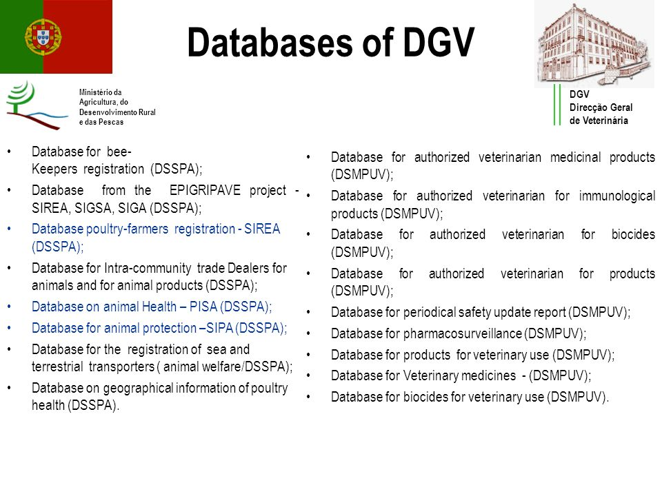 Databases of DGV Database for bee-Keepers registration (DSSPA);