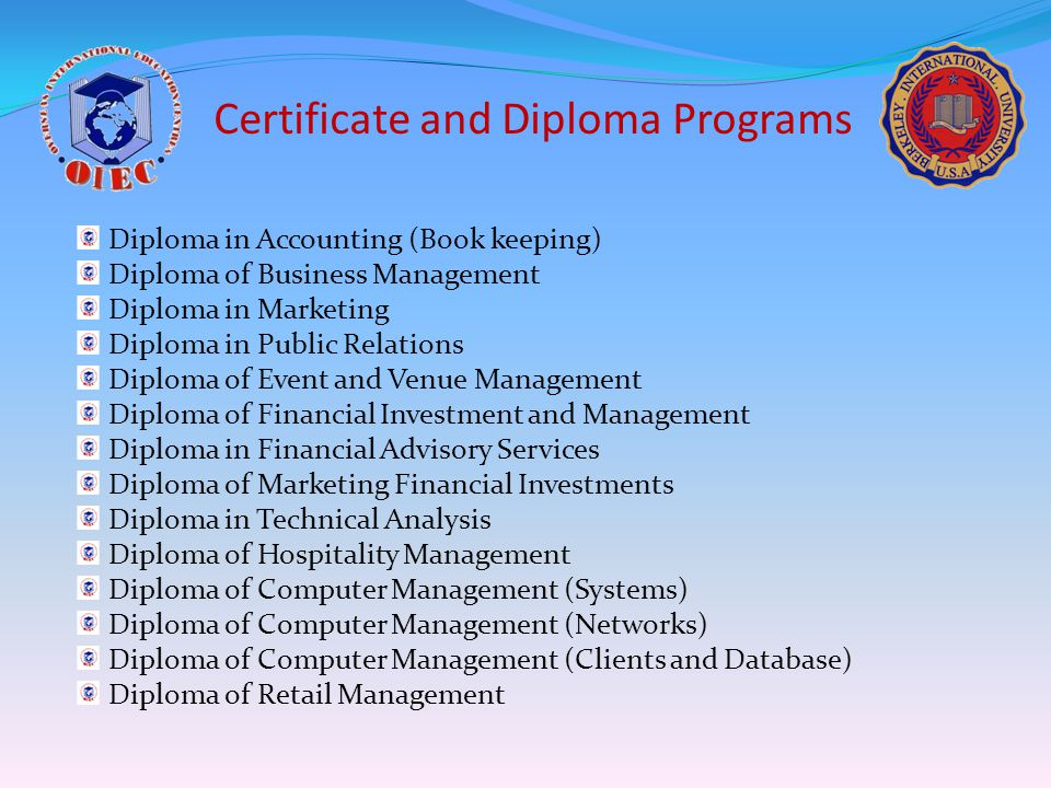 Certificate and Diploma Programs