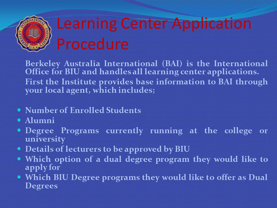 Learning Center Application Procedure
