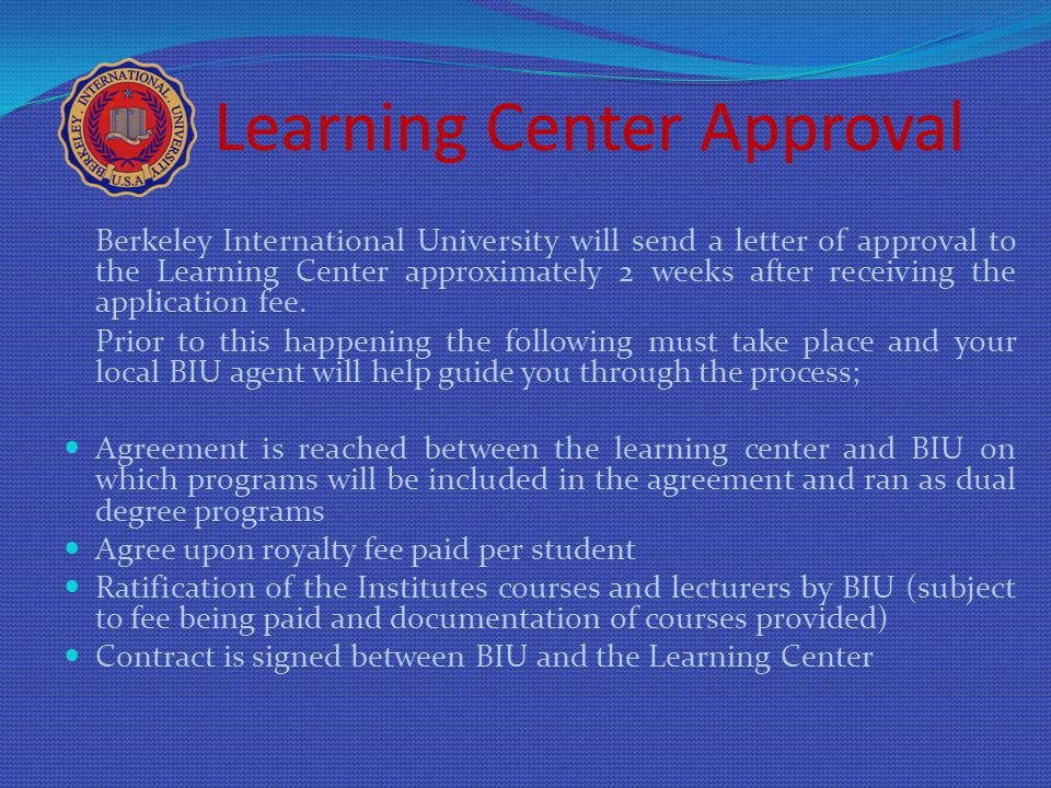 Learning Center Approval