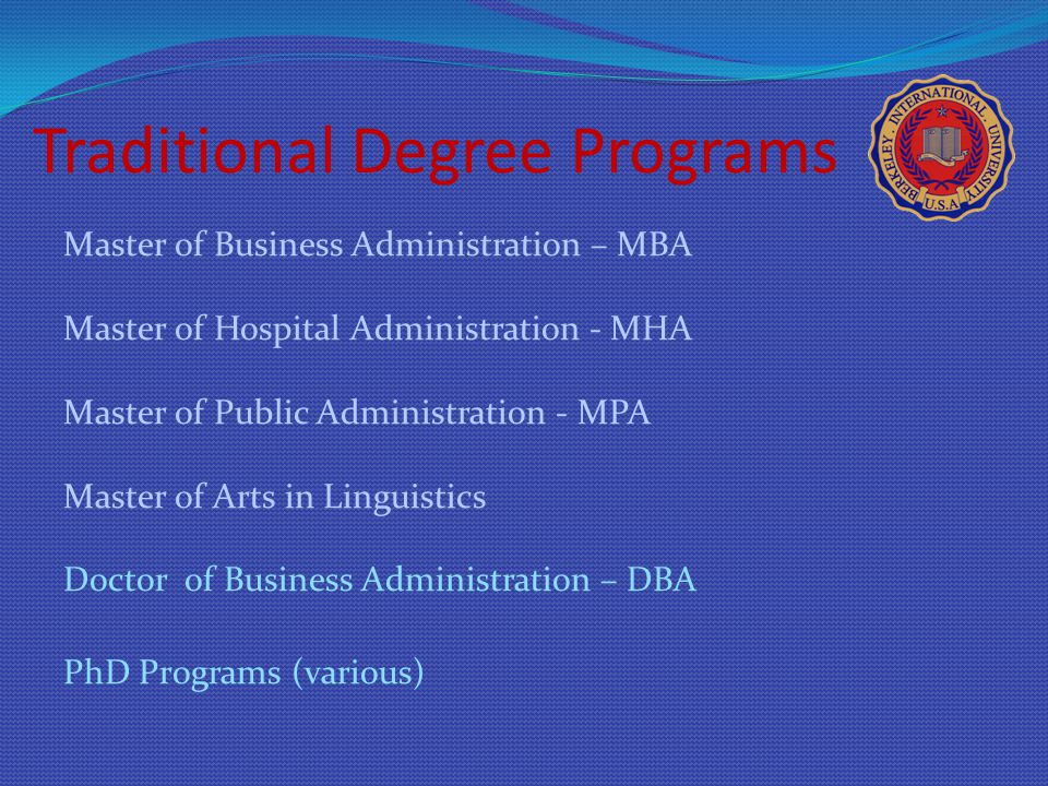 Traditional Degree Programs