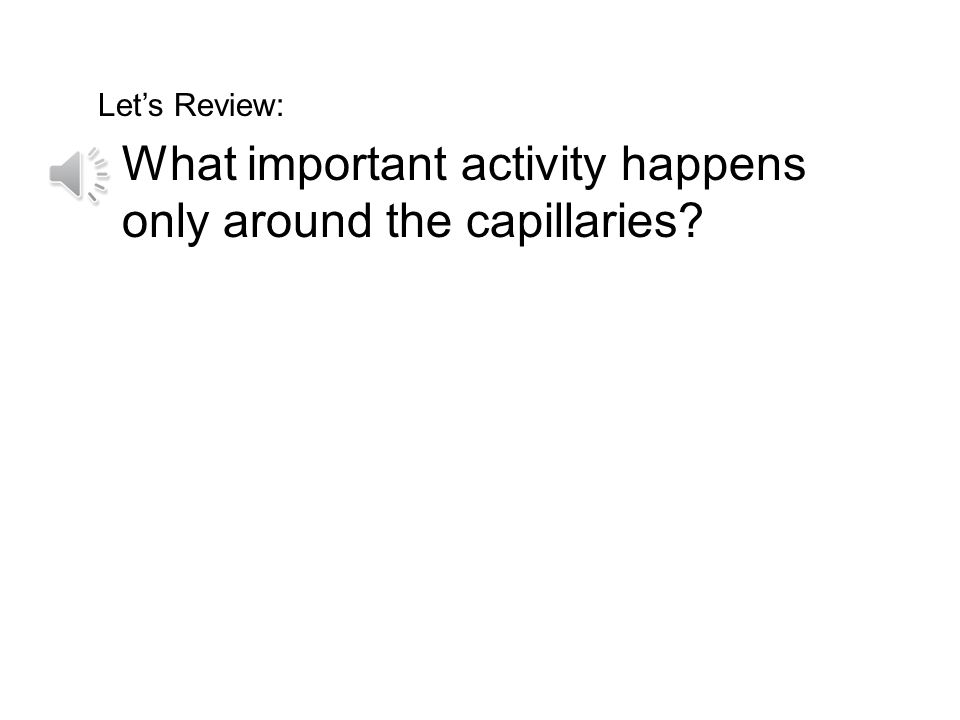 What important activity happens only around the capillaries
