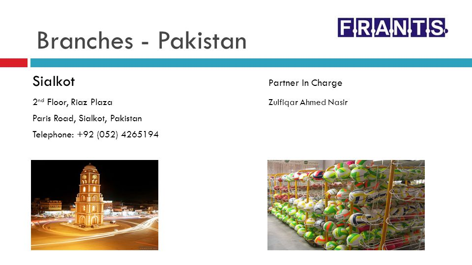 Branches - Pakistan Sialkot Partner In Charge
