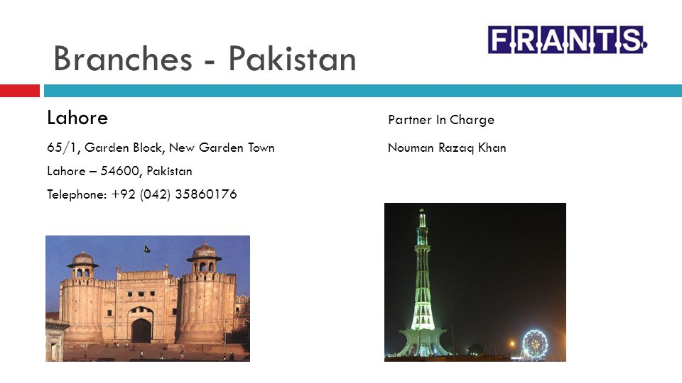 Branches - Pakistan Lahore Partner In Charge