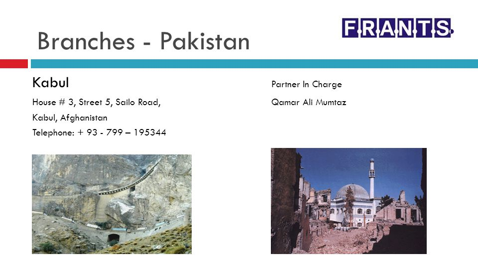 Branches - Pakistan Kabul Partner In Charge