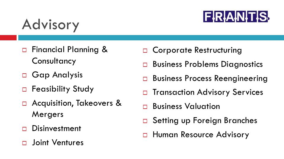 Advisory Financial Planning & Consultancy Corporate Restructuring
