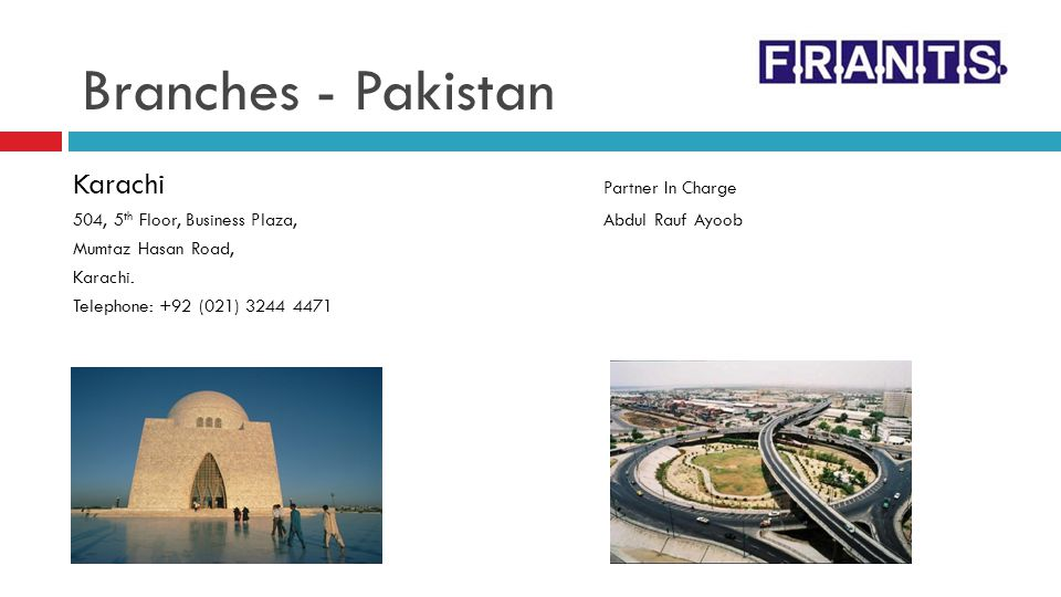 Branches - Pakistan Karachi Partner In Charge