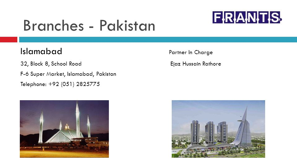 Branches - Pakistan Islamabad Partner In Charge