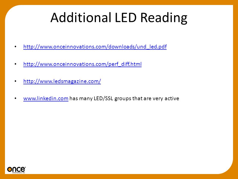 Additional LED Reading
