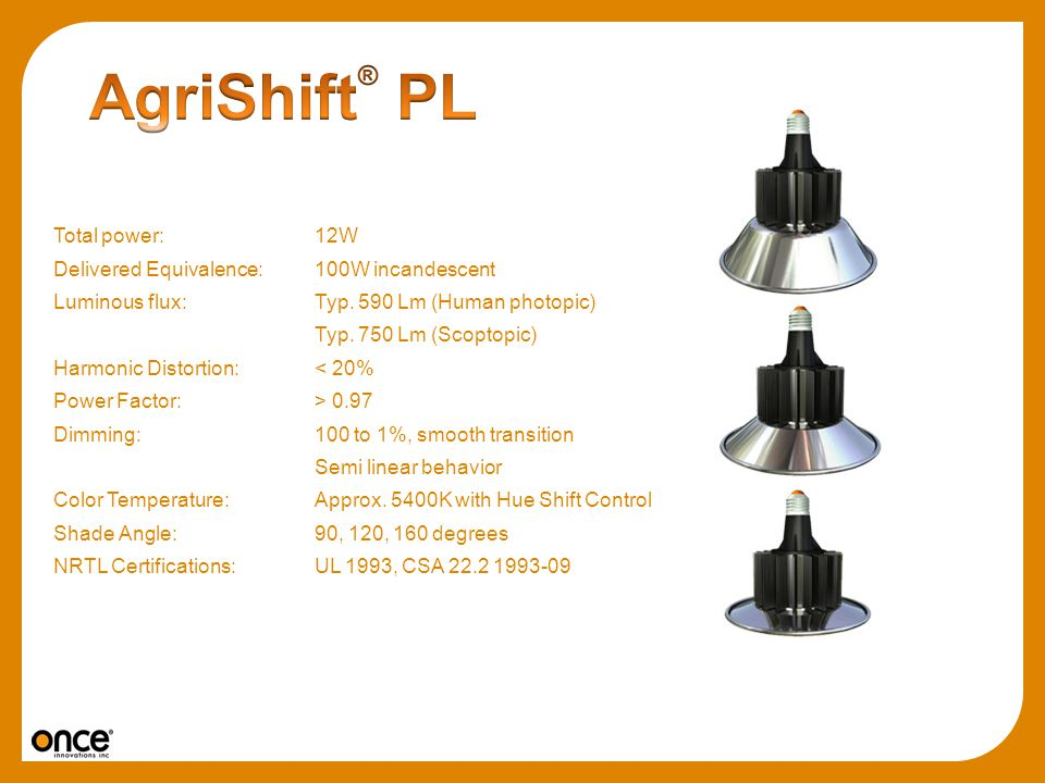 AgriShift® PL Total power: 12W
