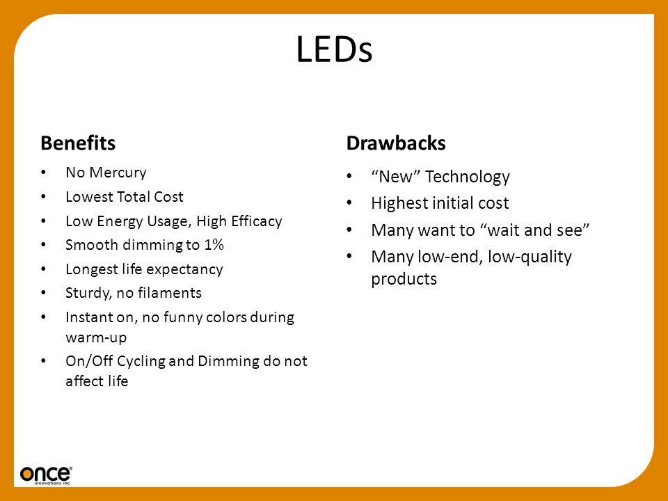 LEDs Benefits Drawbacks New Technology Highest initial cost