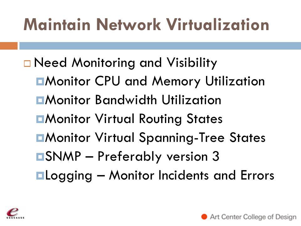 Maintain Network Virtualization
