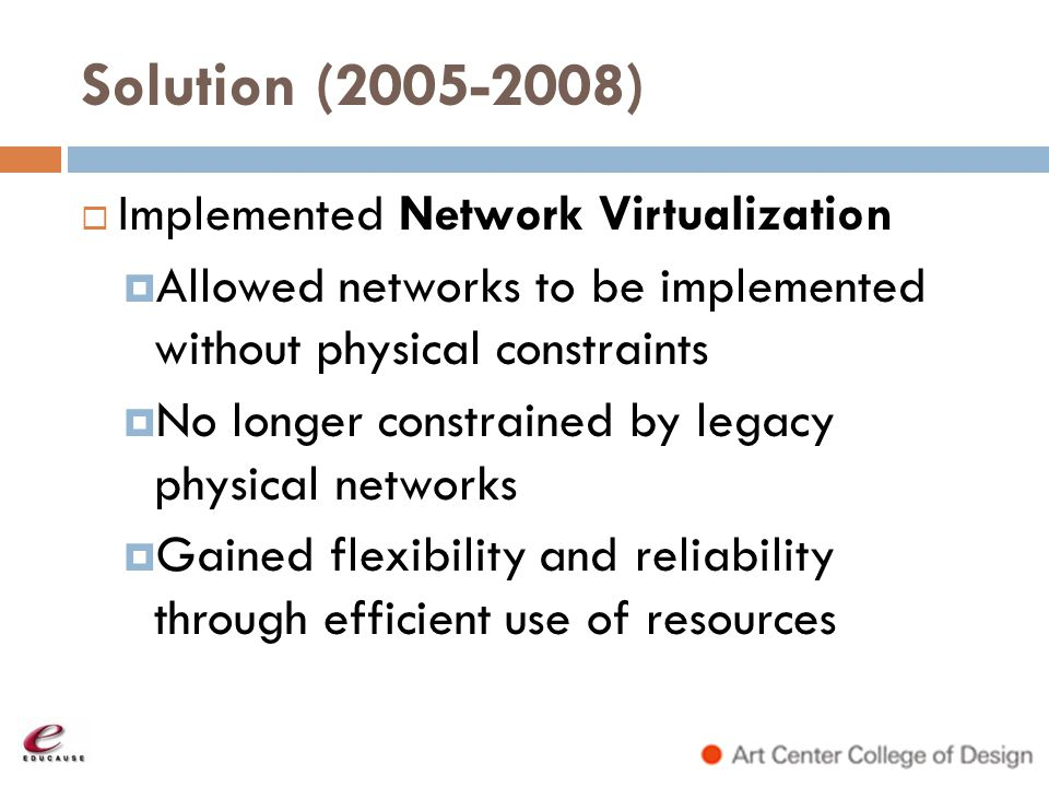 Solution (2005-2008) Implemented Network Virtualization