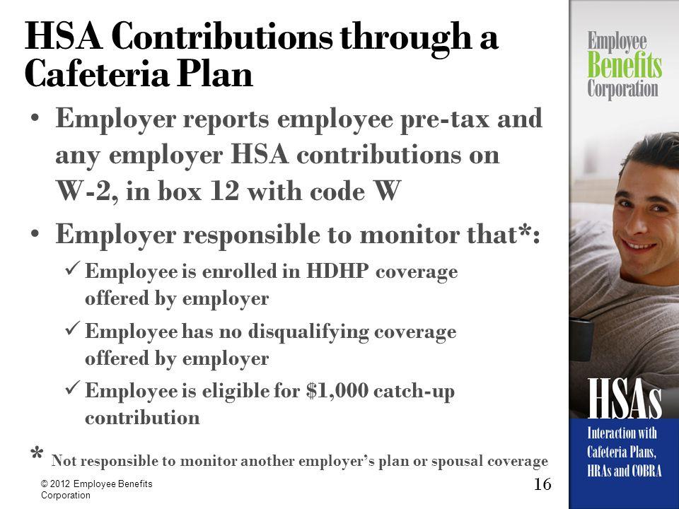 HSA Contributions through a Cafeteria Plan