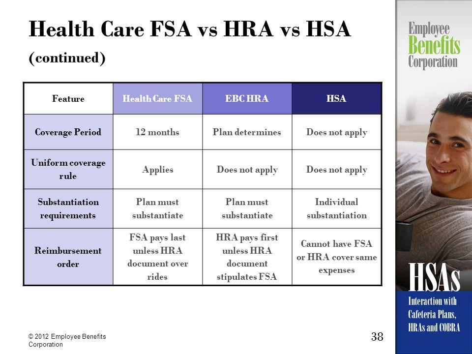 Health Care FSA vs HRA vs HSA (continued)