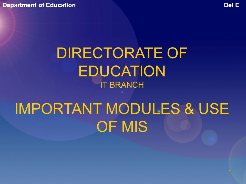 DIRECTORATE OF EDUCATION